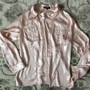 Pink silky button up blouse